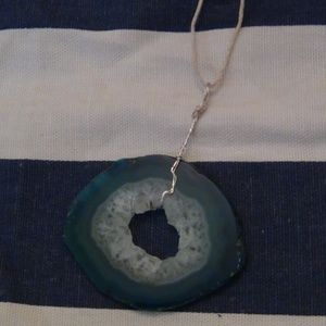 Drilled Blue Quartz Crystal Pendant-Silver Wire